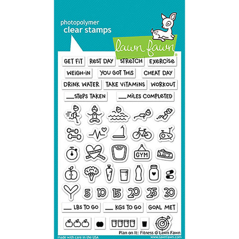 "Lawn Fawn Clear Stamps 4""X6"" Plan On It Fitness LF1483"