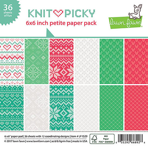 "Lawn Fawn Double-Sided Petite Paper Pack 6""X6"" 36/Pkg Knit Picky 6 Designs/6 Each LF1529"