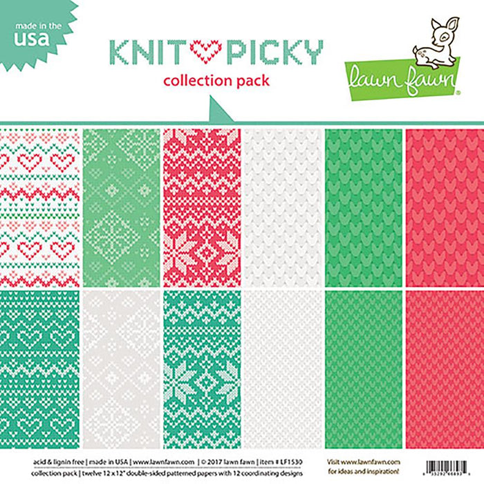 "Lawn Fawn Double-Sided Collection Pack 12""X12"" 12/Pkg Knit Picky, 6 Designs/2 Each LF1530"