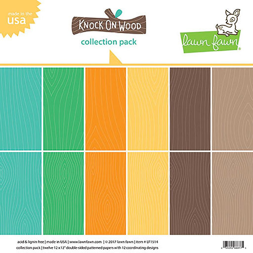 "Lawn Fawn Double-Side Collection Pack 12""X12"" 12/Pkg Knock On Wood 6 Designs/2 Each LF1514"