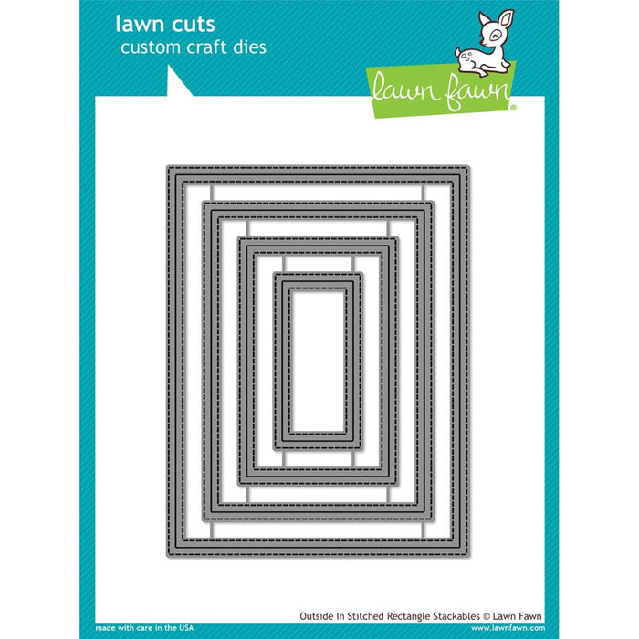 Lawn Fawn Cuts Die Outside In Stitched Rectangle Stackables LF1442