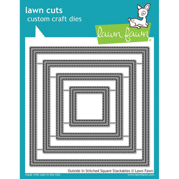 Lawn Fawn Lawn Cuts Custom Craft Die Outside In Stitched Square Stackables LF1443