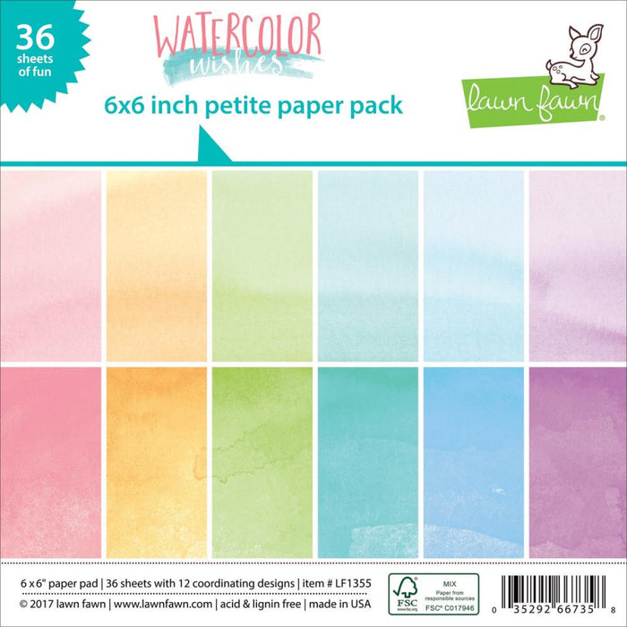 "Lawn Fawn Double-Sided Petite Paper Pack 6""X6"" 36/Pkg Watercolor Wishes LF1355"