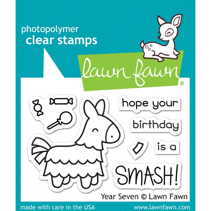 "Lawn Fawn Clear Stamps 3""X2"" Year Seven LF1338"