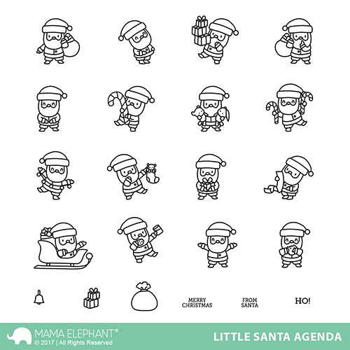 "Mama Elephant 4"" x 6"" Photopolymer Stamp Little Santa Agenda"