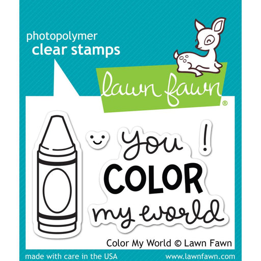 "Lawn Fawn Clear Stamps 3"" x 2"" Color My World LF793 