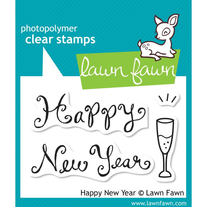 "Lawn Fawn Clear Stamps 3"" x 2"" Happy New Year LF569 