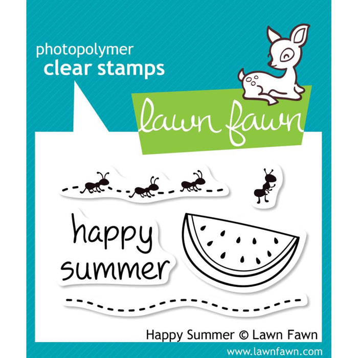 "Lawn Fawn Clear Stamps 3"" x 2"" Happy Summer LF396 