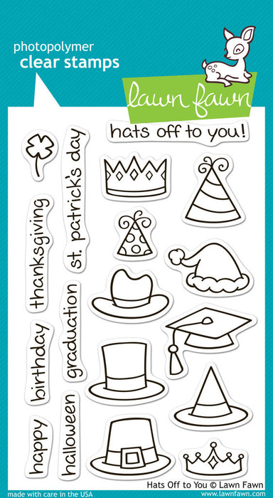 "Lawn Fawn Clear Stamps 4"" x 6"" Hats Off To You LF313 