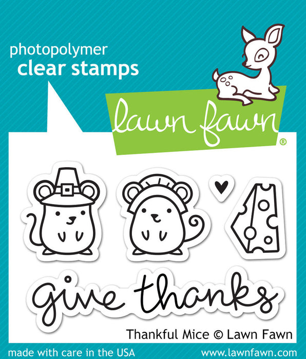 "Lawn Fawn Clear Stamps 3"" x 2"" Thankful Mice LF936 