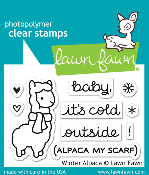 "Lawn Fawn Clear Stamps 3"" x 2"" Winter Alpaca LF981 