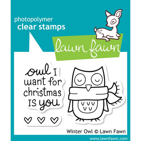 "Lawn Fawn Clear Stamps 3"" x 2"" Winter Owl LF434 