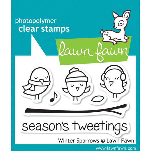 "Lawn Fawn Clear Stamps 3"" x 2"" Winter Sparrows LF565 