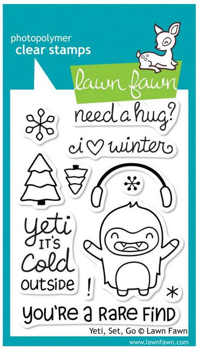 "Lawn Fawn Clear Stamps 3"" x 4"" Yeti, Set, Go LF567 
