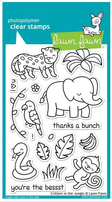 "Lawn Fawn Clear Stamps 4"" x 6"" Critters In The Jungle LF803 
