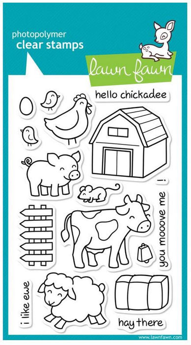 "Lawn Fawn Clear Stamps 4"" x 6"" Critters On The Farm LF355 