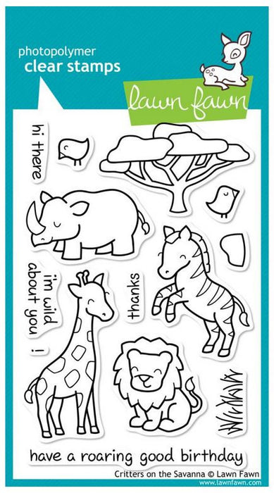 "Lawn Fawn Clear Stamps 4"" x 6"" Critters On The Savanna LF448 