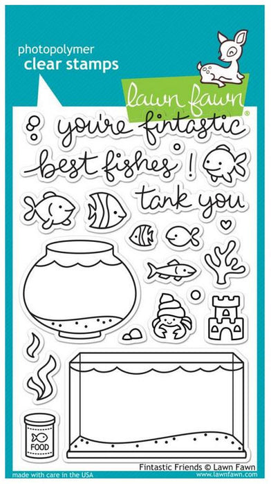 "Lawn Fawn Clear Stamps 4"" x 6"" Fintastic Friends LF891 
