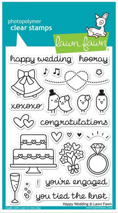"Lawn Fawn Clear Stamps 4"" x 6"" Happy Wedding LF887 