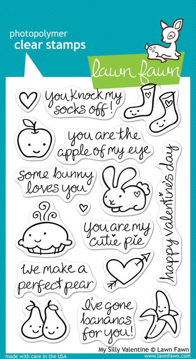 "Lawn Fawn Clear Stamps 4"" x 6"" My Silly Valentine LF332 