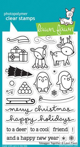 "Lawn Fawn Clear Stamps 4"" x 6"" Tobaggan Together LF976 