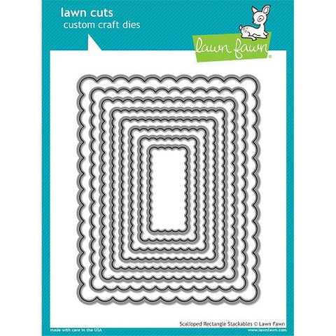 Lawn Fawn Dies Lawn Cuts Custom Craft Die Scalloped Rectangle Stackables LF997 | Maple Treehouse