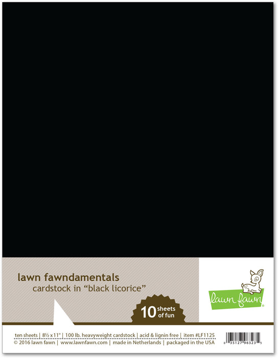"Lawn Fawn Black Licorice Cardstock 8.5"" x 11"" LF1125 