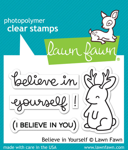 "Lawn Fawn Clear Stamps 3"" x 2"" Believe In Yourself LF1042 