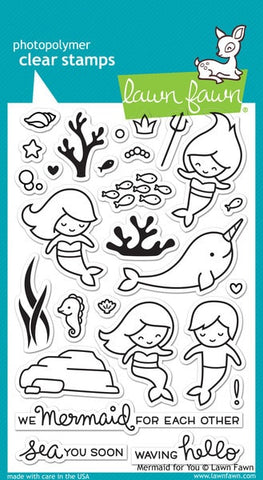 "Lawn Fawn Clear Stamps 4"" x 6"" Mermaid For You LF1167 