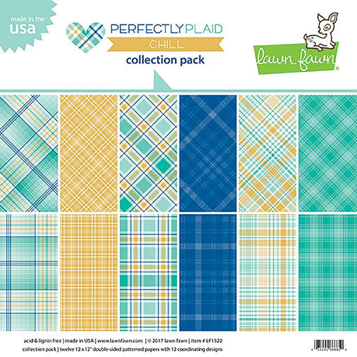 "Lawn Fawn Double-Sided Collection Pack 12""X12"" 12/Pkg Perfectly Plaid Chill, 6 Designs/2 Each LF1522"