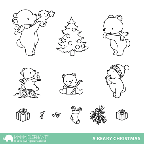"Mama Elephant 4"" x 6"" Photopolymer Clear Stamps Beary christmas"