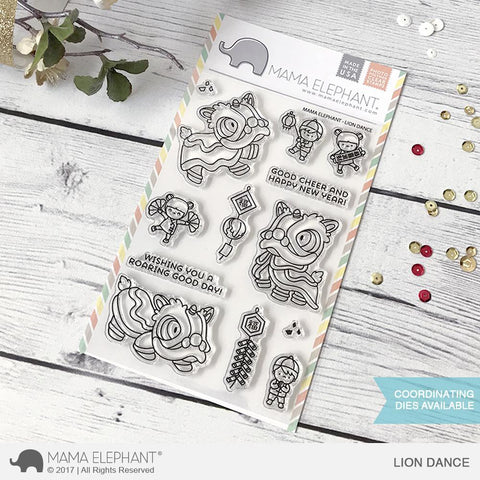 "Mama Elephant 4"" x 6"" Photopolymer Clear Stamps Lion Dance"