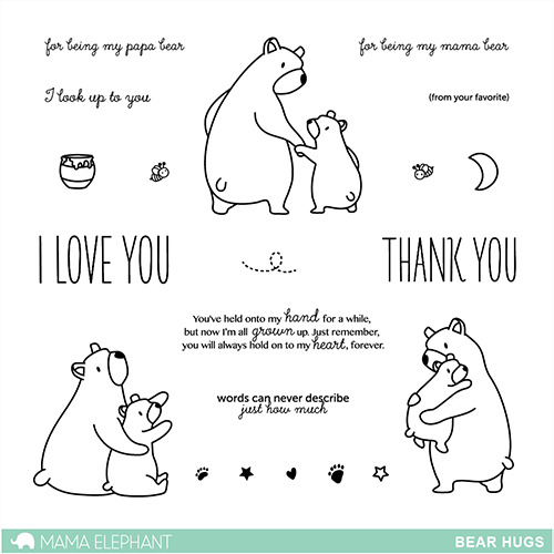 "Mama Elephant 4"" x 6"" Photopolymer Clear Stamps Bear Hugs 