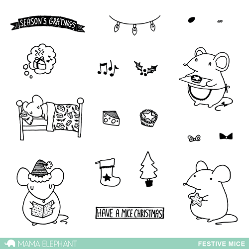 "Mama Elephant 4"" x 6"" Photopolymer Clear Stamps Festive Mice 