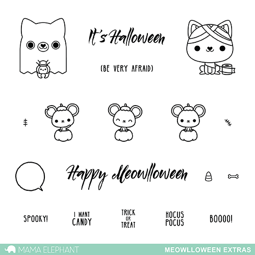 "Mama Elephant 4"" x 6"" Photopolymer Clear Stamps Meowlloween Extras 