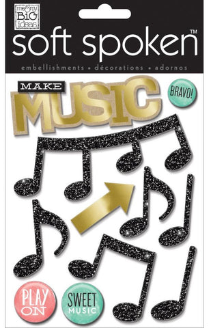 Me & My Big Ideas Soft Spoken Themed Embellishments Make Music SS-1609