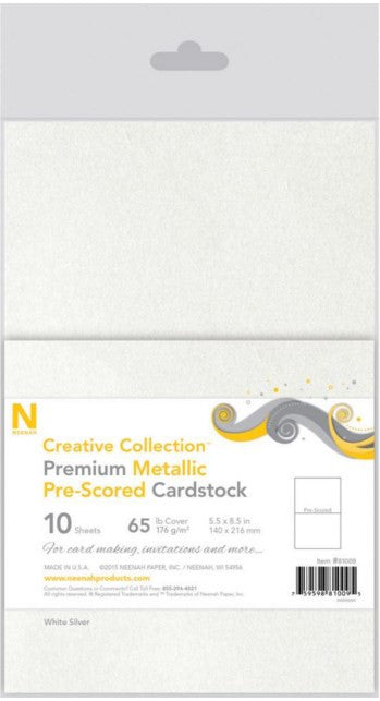 "Neenah Papers Pre-Scored Metallic 65lb Cover Cardstock 5.5"" x 8.5"" 10-Pkg White Silver N81009 