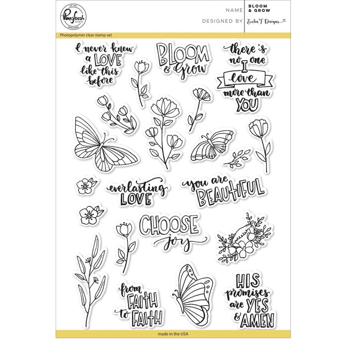 "Pinkfresh Studio Clear Stamp Set 6""X8"" Bloom & Grow PFCS2618"