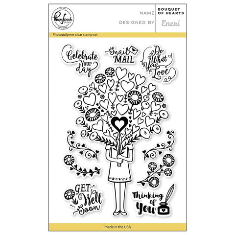 "Pinkfresh Studio Clear Stamp Set 4""X6"" Bouquet Of Hearts PFCS1018"