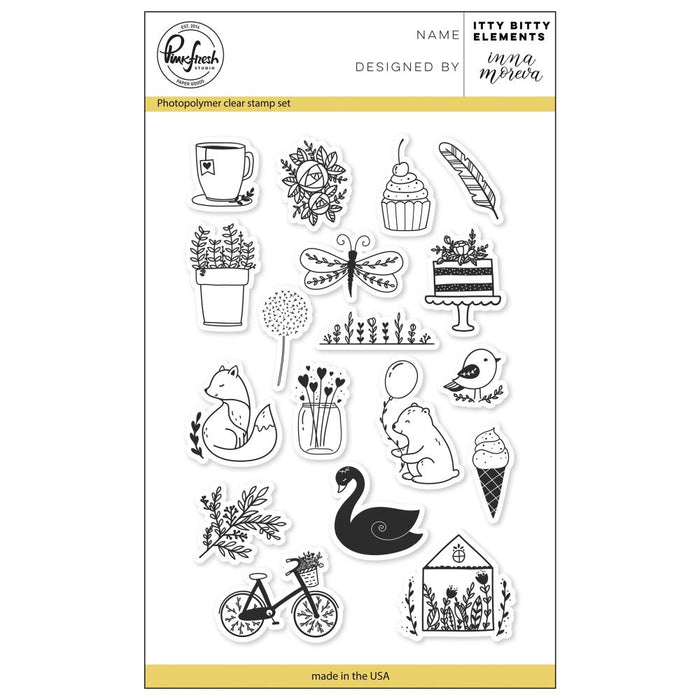 "Pinkfresh Studio Clear Stamp Set 4""X6"" Itty Bitty Elements PFCS0718"