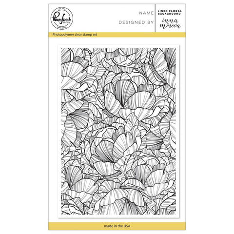 "Pinkfresh Studio Clear Stamp Set 4""X6"" Lined Floral Background"