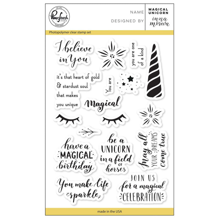 "Pinkfresh Studio Clear Stamp Set 4""X6"" Magical Unicorn PFCS1718"