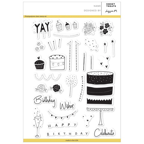 "Pinkfresh Studio Clear Stamp Set 6""X8"" Sweet Treats PFCS2218"