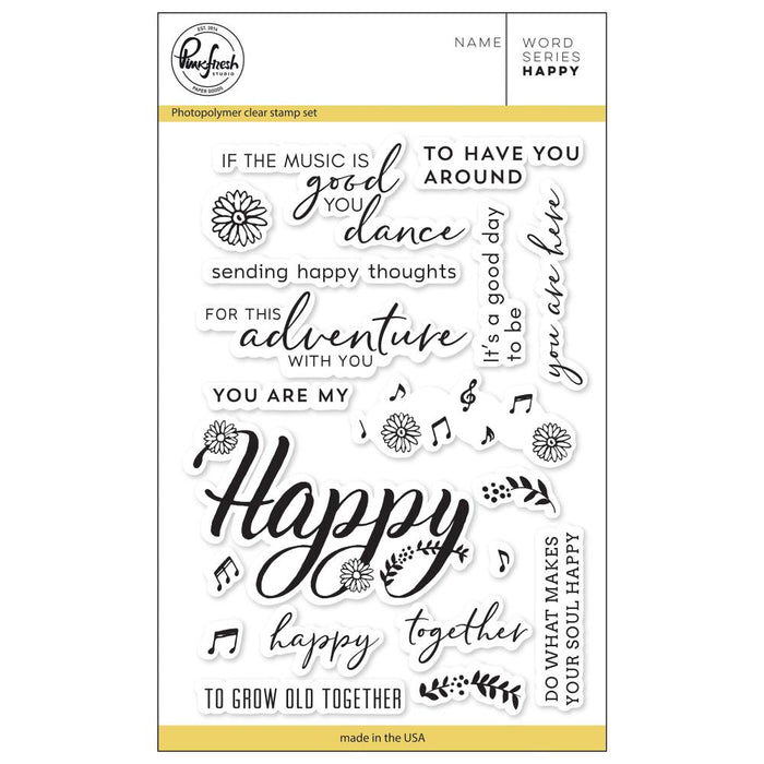 "Pinkfresh Studio Clear Stamp Set 4""X6"" Word Series: Happy PFCS1418"