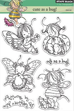 "Penny Black Transparent Clear Stamp 4"" x 6"" Cute As A Bug! 30-220 