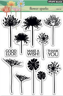 "Penny Black Transparent Clear Stamp 4"" x 6"" Flower Sparks 30-281 