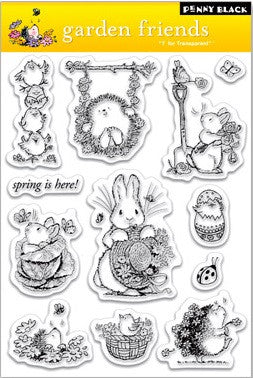 "Penny Black Transparent Clear Stamp 4"" x 6"" Garden Friends 30-021 