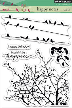 "Penny Black Transparent Clear Stamp 4"" x 6"" Happy Notes 30-300 