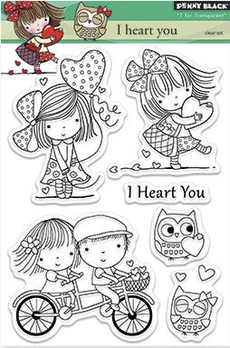"Penny Black Transparent Clear Stamp 4"" x 6"" I Heart You 30-272 