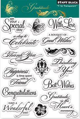 "Penny Black Transparent Clear Stamp 4"" x 6"" Gratitude 30-105 